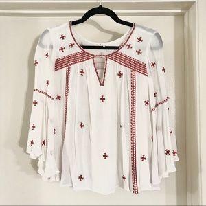 Anthropologie white gauzy embroidered blouse | S/2